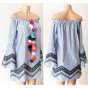 Blue Stripe Pom Pom Tassel Bell Off Shoulder Dress